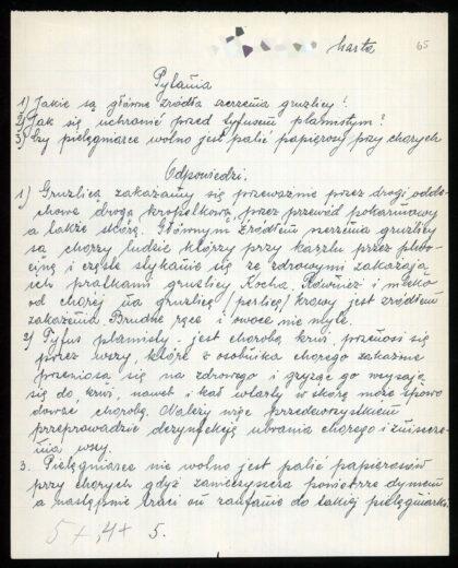 skan arkusza egzaminu pielęgniarskiego z odpowiedziami przytoczonymi w treści